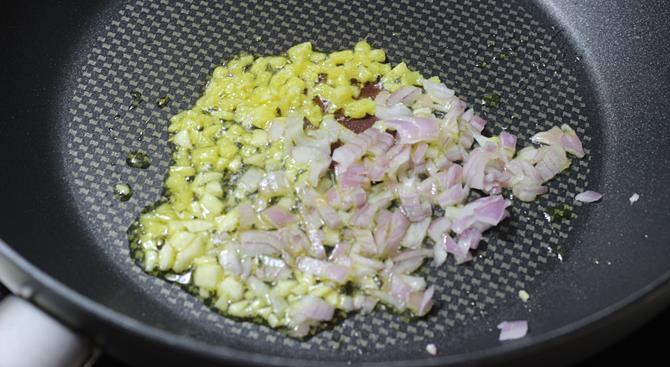 addition of onions for schezwan chicken fried rice recipe