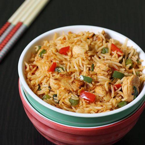 schezwan chicken fried rice | spicy chicken fried rice