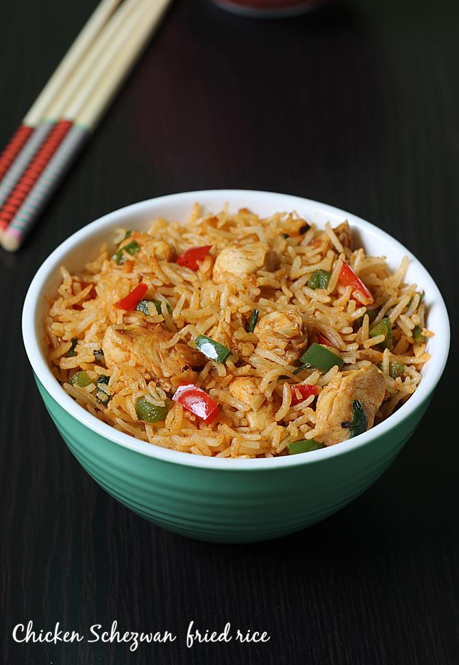 schezwan chicken fried rice recipe swasthis recipes