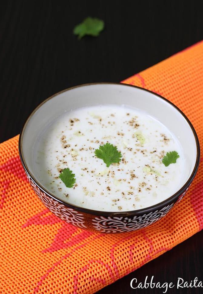 cabbage raita recipe swasthis recipes