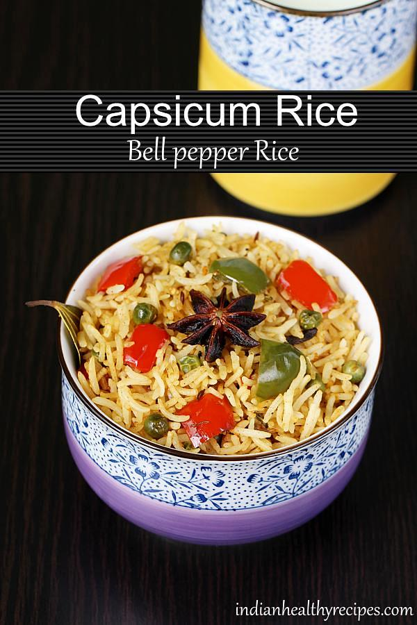 capsicum rice - Indian style spicy bell pepper rice made with fragrant rice, spices , peas & peppers. Flavorful & delicious, can make it in no time if you have precooked rice. #capsicumrice #vegetarian #capsicum #rice #bellpepper