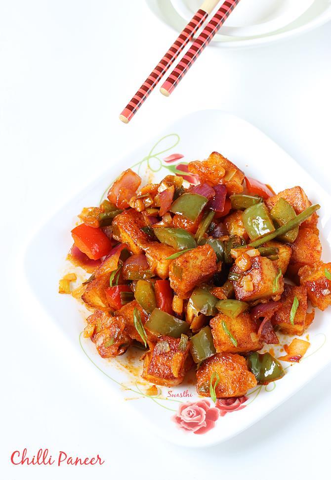 chilli paneer recipe video how to make chilli paneer dry