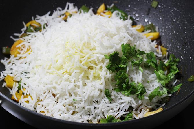 addition of rice for thai veg pineapple fried rice recipe