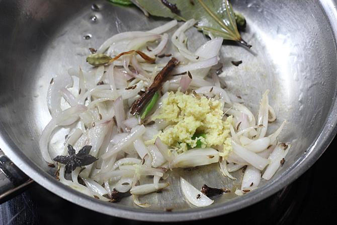 addition of ginger garlic for semiya biryani recipe