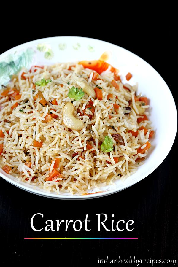 Simple carrot rice made with chopped carrots, spices & herbs. Serve it for dinner with some yogurt or raita. #carrotrice