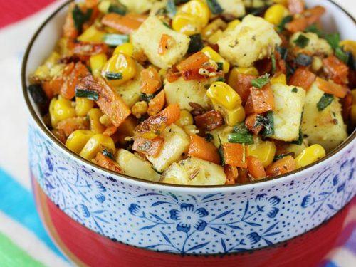 Vegetable paneer stir fry recipe