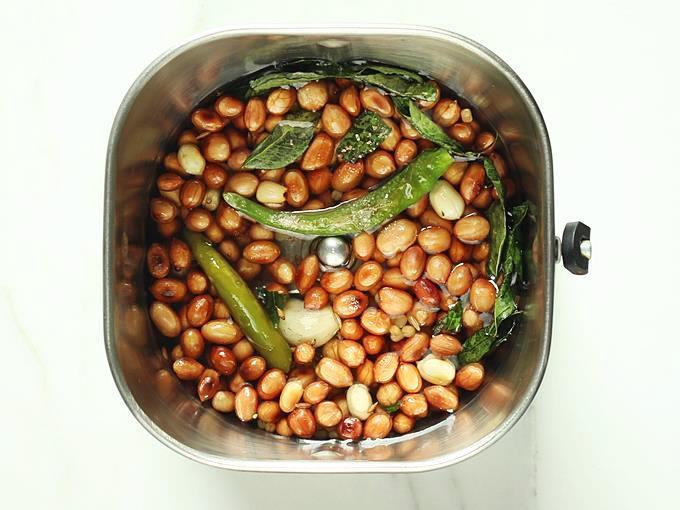 adding to blender to make peanut chutney