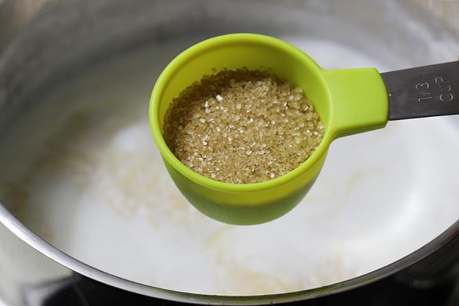 addition of sugar