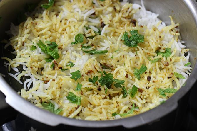 next layer of rice for shrimp biryani recipe