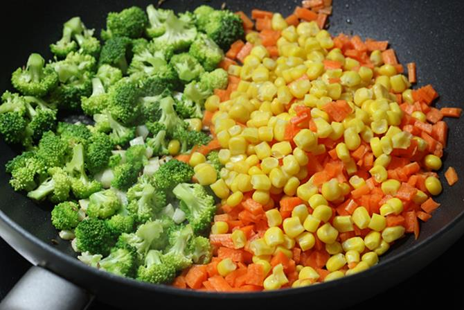 addition of chopped veggies to make broccoli recipe 02