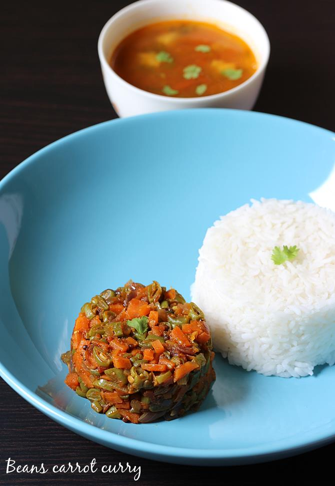 healthy carrot beans curry served with rice