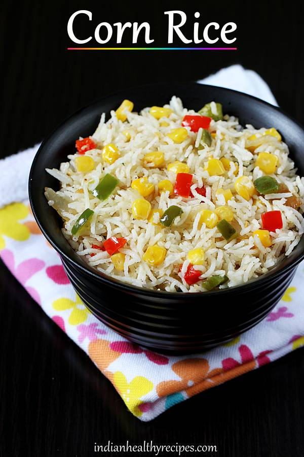 Easy sweet corn rice made with bell peppers, pepper and rice. #cornrice #sweetcornrice #cornfriedrice