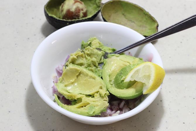 scooped ripe avocado for guacamole sandwich recipe