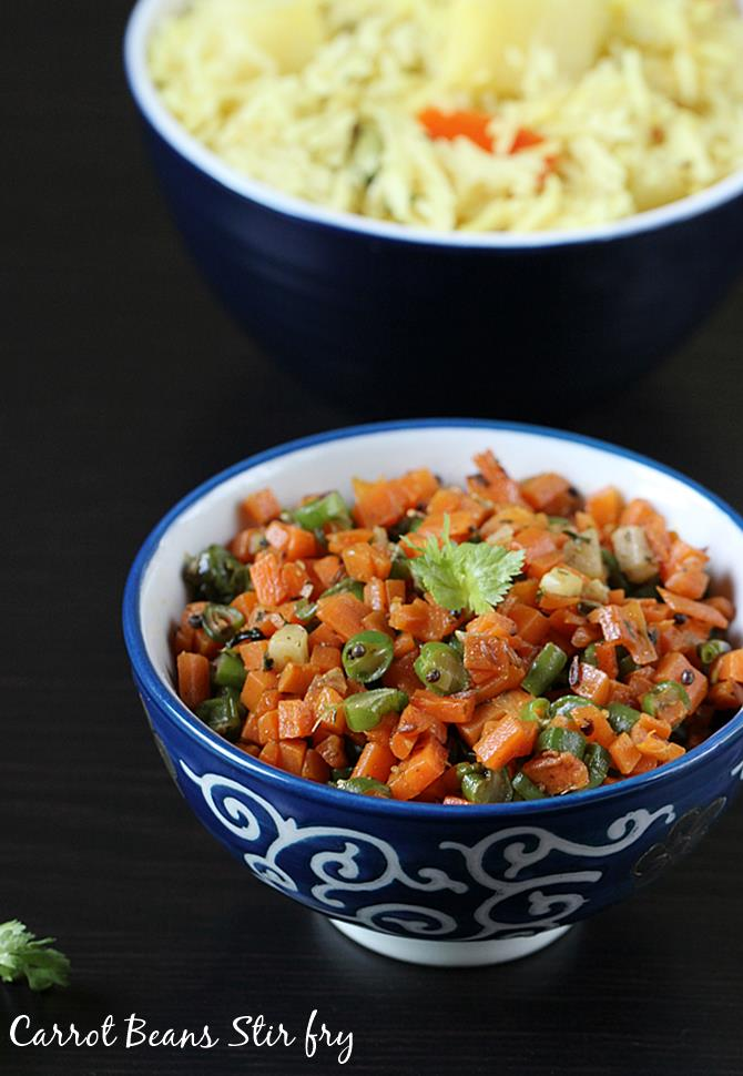 quick carrot beans recipe for rice