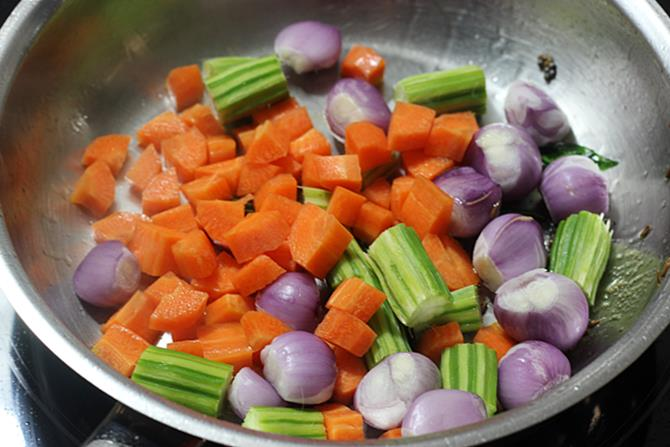 Add shallots, carrots, beans and drumsticks