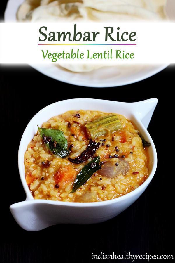 sambar rice or sambar sadam is a delicious rice dish made of lentils, rice and mix veggies. #sambarrice #sambarsadam #vegetarian #rice