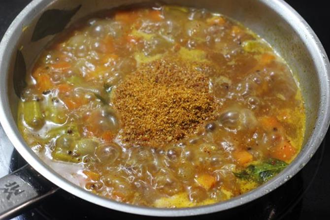 addition of ground powder to make sambar sadam recipe