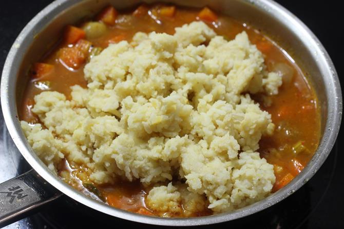 addition fos oft mashed rice dal in sambar sadam recipe