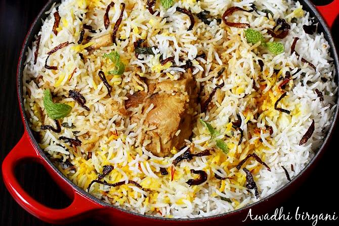 awadhi chicken biryani swasthis recipes