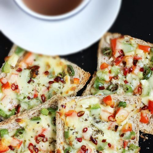 Capsicum cheese toast sandwich recipe | Quick cheese toast