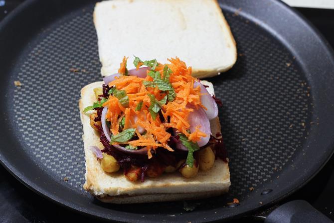 addition of veggies for chana sandwich recipe
