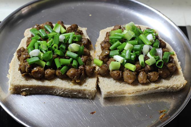toasting in toaster chana masala sandwich