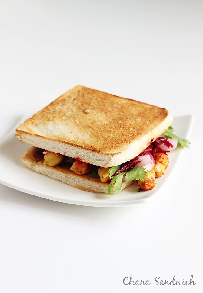 tawa or pan toasted chana sandwich recipe
