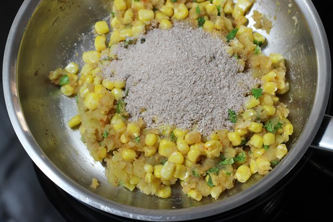 addition of poha for corn cutlet recipe