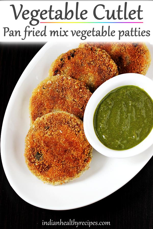 veg cutlet recipe - Crisp pan fried mix vegetable cutlets that make for a great snack. Serve with chutney or sauce #cutlet #cutletrecipe #vegcutlet #vegcutletrecipe #vegetablecutlet