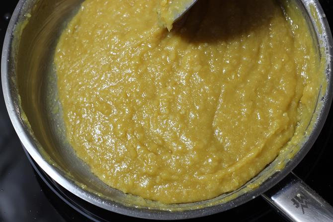 the mixture begins to leave the sides of the pan