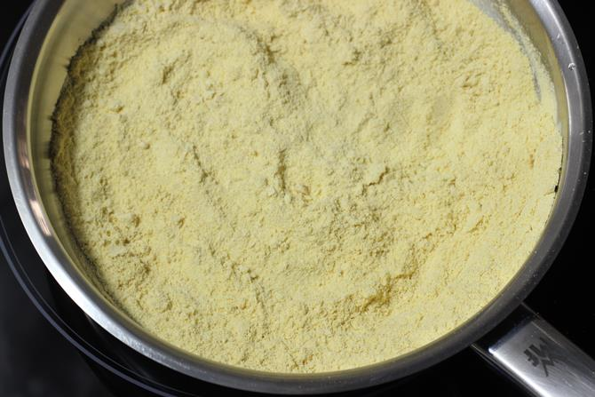 frying besan to make 7 cup burfi