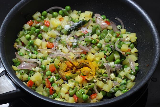 Add salt and turmeric