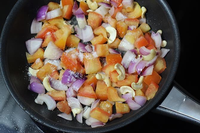 sauteing onions tomatoes for egg butter masala