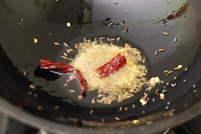 tempering mustard cumin for steamed cabbage curry