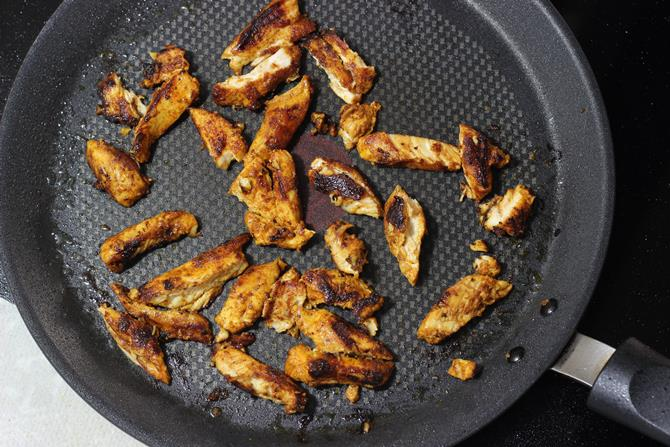 grilling meat on stove for chicken shawarma recipe