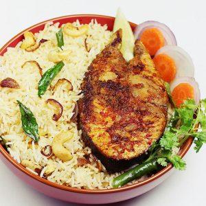 Fish ghee rice recipe | South Indian ghee rice with tawa fish