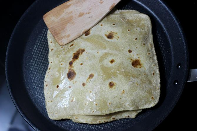 drizzle ghee over paratha