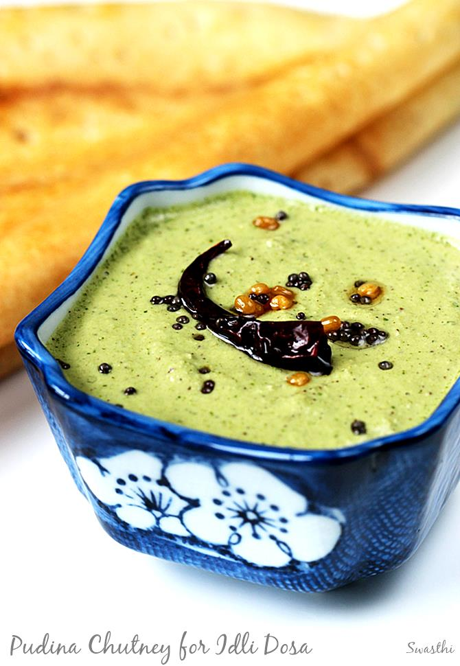 pudina chutney recipe for idli dosa vada