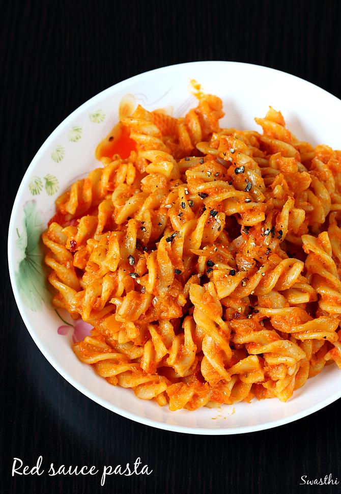 Pasta In Red Sauce Recipe Is Usually Made Using Only Tomatoes Mostly Canned Or Tomato Paste Puree Used To Get The Bright Color