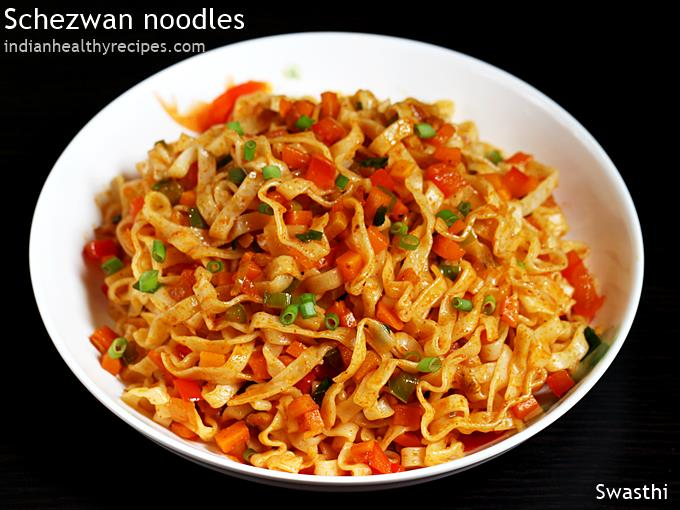 ready to serve schezwan noodles in a plate