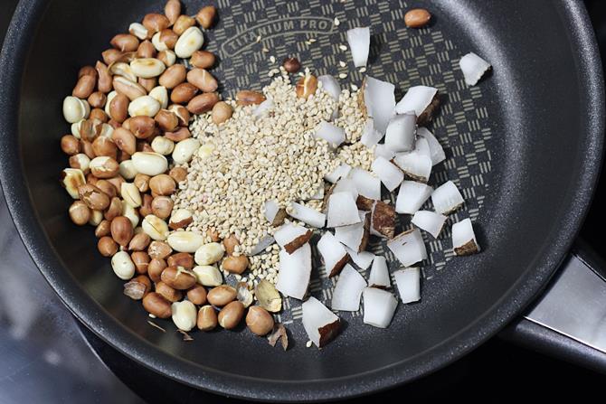 sesame seeds coconut frying