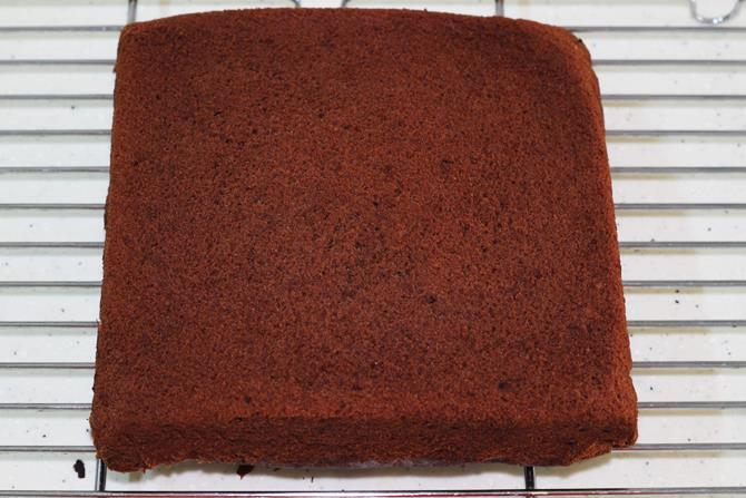 cooling chocolate banana cake on rack