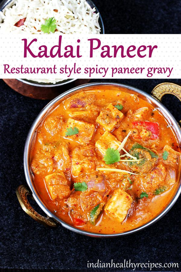 kadai paneer is a spicy flavorful paneer recipe made in onion tomato gravy with ground spice powder or masala. #kadaipaneer #kadaipaneerrecipe