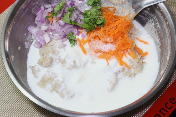 addition of veggies to make curd oats recipe