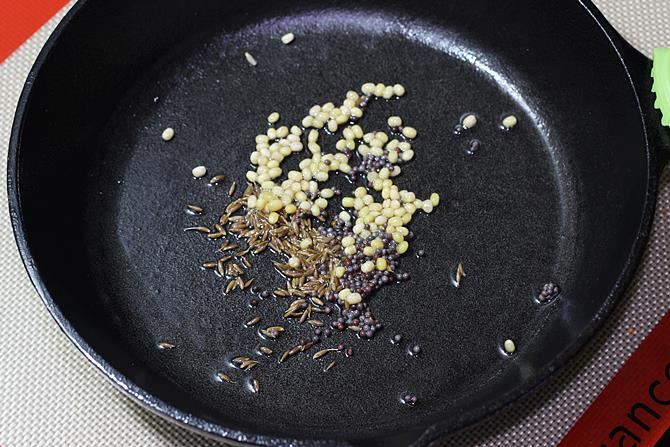 tempering with spices to make curd oats recipe