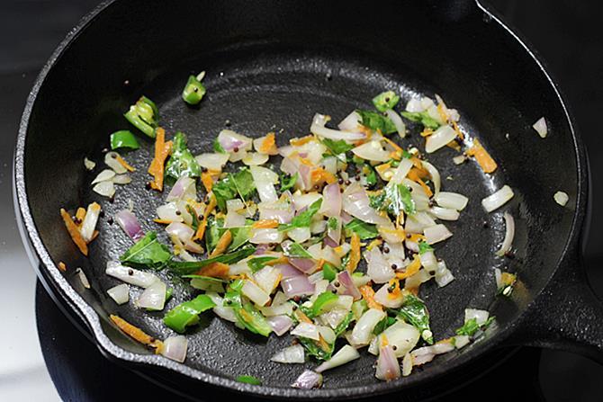 sauteing onions for paniyaram recipe