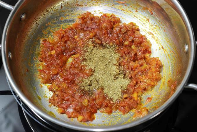 addition of coriander powder garam masala