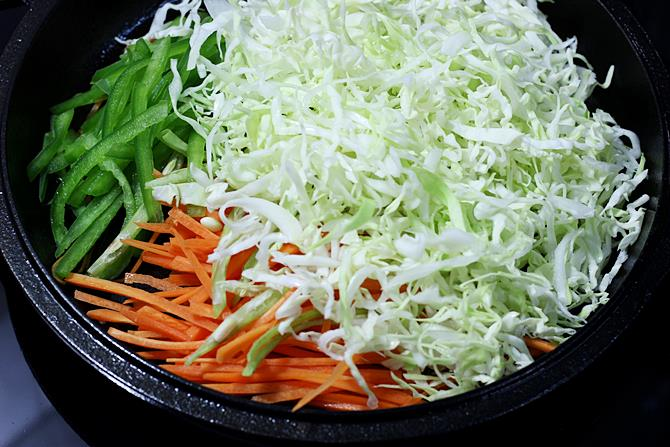 sauteing veggies to make veg noodles recipe