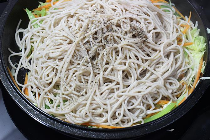 addition of salt pepper for veg noodles recipe