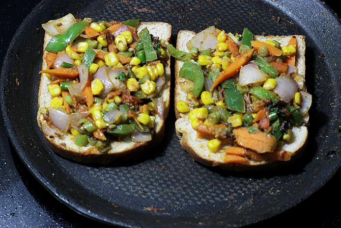 transfer veggies over bread to make vegetable sandwich